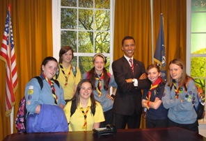 Barack and some of Raheny Guides in Madame Ts :)